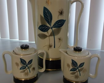Mid Century Modern Porcelier Porcelain Electric Coffee Pot Set Coffee Percolator Coffee Pot