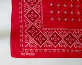 ELEPHANT BRAND BANDANA  Fast Color Trunk Up Vintage Red Geometric Print new old stock