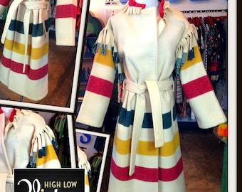 Vintage Woolrich Jacket Coat Stripes Fringe