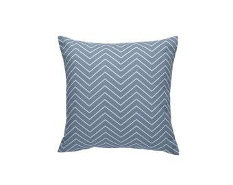 "Chevron Pillow Cover, Blue Gray Throw Pillow, Decorative Pillow Cover, 20"" x 20"""