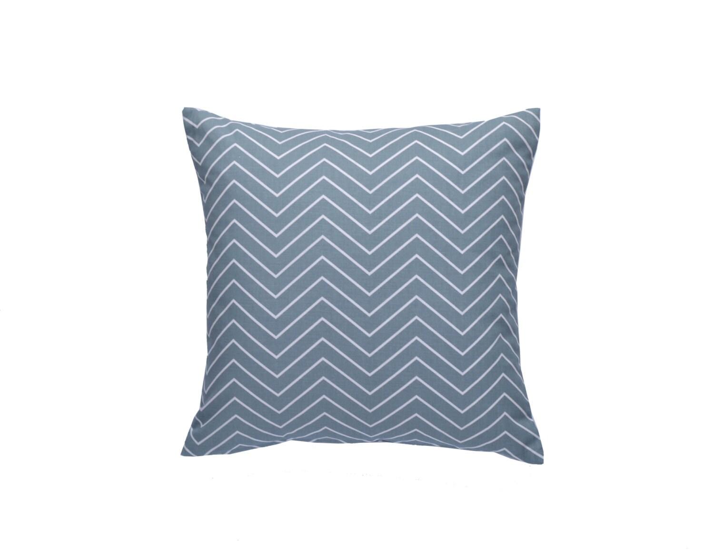 Greyish Blue Throw Pillows : Chevron Pillow Cover, Blue Gray Throw Pillow, Decorative Pillow Cover, 20 x 20