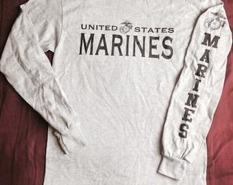 "Gray Marine Corps PT Long Sleeve T-Shirt ""MARINES"" EGA Tee"