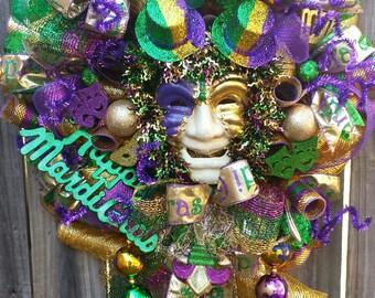 Mardi Gras Large Wreath Mardi Gras Wreaths Mardi Gras New Orleans Mardi Gras Wreath Traditional Mardi Gras Wreath Mardi Gras decor