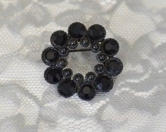 Black Rhinestone Japanned Metal Brooch Pin