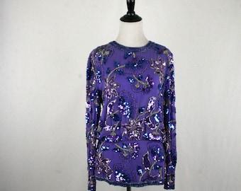 1980s Oleg Cassini Beaded Sequined Purple Silk Blouse Size 8