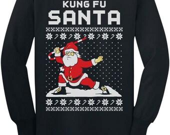 Kung Fu Santa Funny Christmas Youth Long Sleeve T-Shirt