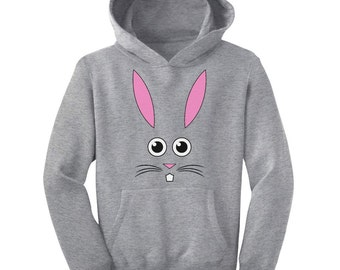 Bunny Face Kids-Youth Hoodie Easter Rabbit