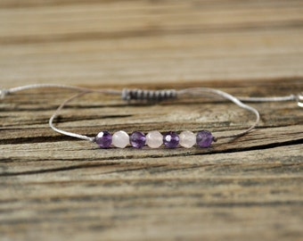 Anxiety, Rose Quartz, Amethyst, Gemstone Therapy, Crystal Healing, Yoga Bracelet, Meditation Bracelet, Grief, Stress, Heart Chakra, Crown