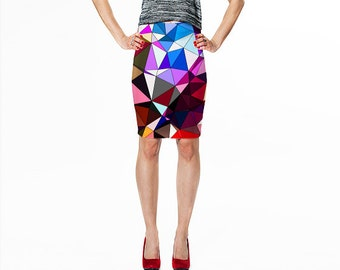 Pencil Skirt/ Print Skirt / Bodyconscious Skirt / Fitted Pencil Skirt / Bodycon Skirt / Skirt / Geometric Print Skirt / Fitted Skirt