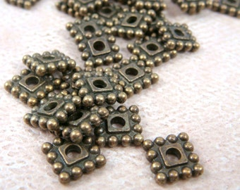 Spacer Bead - Square Spacer Bead (00697AB) - Antiqued Bronze, Brass Spacer Bead - 7mm - Qty. 50