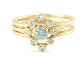 Aquamarine and Diamond Wedding Set 14k Rose Gold Ring Aquamarine Diamond Gold Ring Triple Ring Set V Shape Diamond Wedding Aquamarine Ring