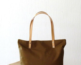 Waxed Canvas Carryall Tote Bag Tan Cinnamon Brown, Large Tote Leather Handles, Shoulder Bag, Everyday