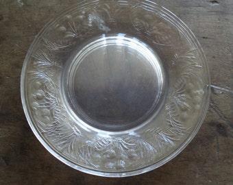 Vintage Plates Dessert Clear Glass Etched Home & Living Kitchen Dining Serving Entertaining Salad Plates