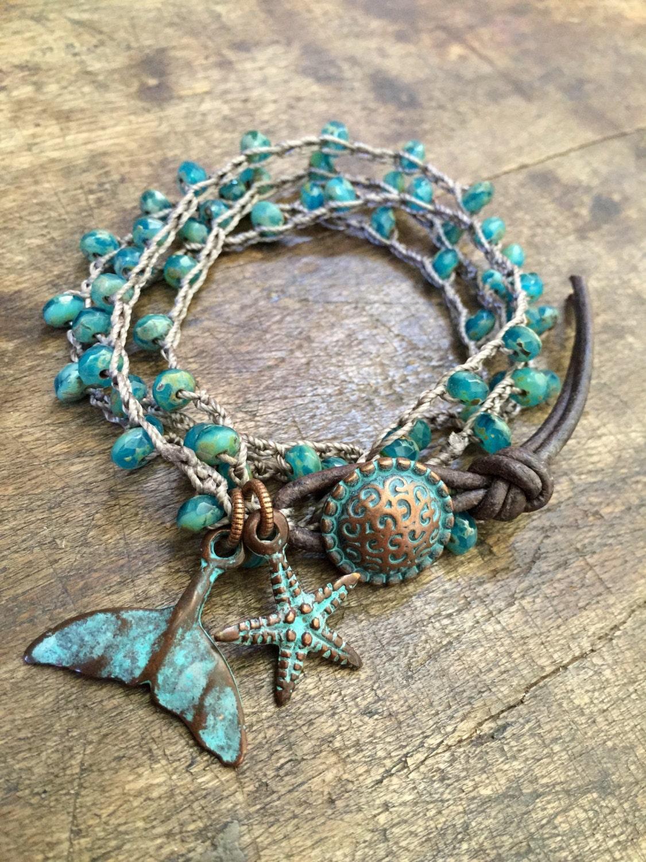 turquoise beaded knotted wrap crochet bracelet rustic. Black Bedroom Furniture Sets. Home Design Ideas