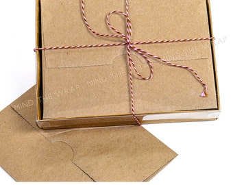 25 sets - A2 Kraft Box with Clear Lid - 4.5 x 1 x 6 inches - 2 piece box - Fits A2 Note Cards & Envelopes
