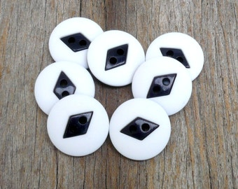 Navy And White Buttons , Black And White Buttons , 25 mm  Buttons  , Sewing And Needlecraft Supplies