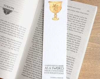 Game of Thrones Bookmark - Mind Needs A Book - Tyrion Lannister Quote Book mark - Book Lover Gift - Reading Accessory - George Martin Quote