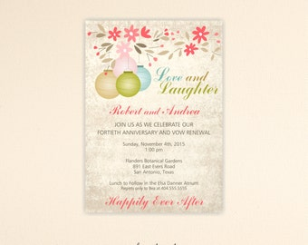 Vow Renewal Invitation, Wedding Anniversary, 25th Anniversary, 30th, 35th 40th, 50th, 60th, vows, digital, printable, invite V8142
