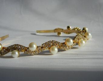 Pearl Headband, Pearl Hairpiece, Rhinestone Headband, Gold Headband, Rhinestone Hairpiece, Bridal Headband, Bridal Hairpiece.