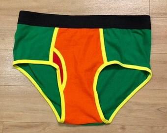 HOT ITEM - 100% Recycled T-Shirt Handmade Men's Brief Underwear PanTees: Bright Green & Bright Orange (Sz L)