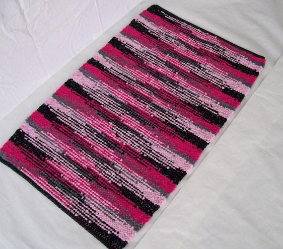 Pink Rag Rug With Black Light Pink Gray Country Rag Rug