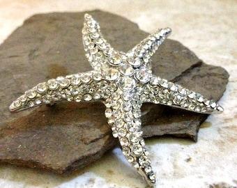 Rhinestone Starfish Silver Clear Rhinestone Flatback Embellishment or Brooch Pin Crystal Starfish Broach Nautical Brooch Bouquet DIY SC9