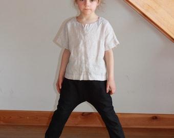 Girls linen harem pants Harem pants Black pants Girls trousers Girls White Beige pants