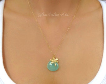 Gold Dragonfly Necklace, Firefly Pendant Necklace With Aqua Chalcedony, Dragonfly Charm Lightning Bug Jewelry, Graduation Gift For Her