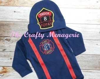 Firefighter Baby Boy Coming Home Outfit, Fireman Layette, Personalized Firefighter Bodysuit, Optional Hat