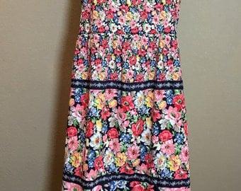 Vintage 1970's 80's floral handmade sundress cotton dress M/L