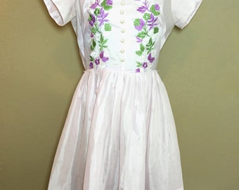 Vintage 1950's purple lightweight semi-sheer embroidered day dress M/L