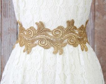 Wide Metallic Gold Lace with Navy Ribbon Sash Belt, Bridal Gold Lace Sash, Bridesmaid Sash ,Flower Girl Sash