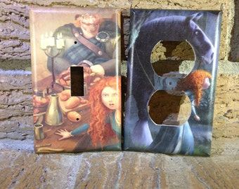 Brave Merida and King Fergus Light Switch and Electrical Cover, Brave Decor, Merida Princess, Merida and Angus, Brave Decoration
