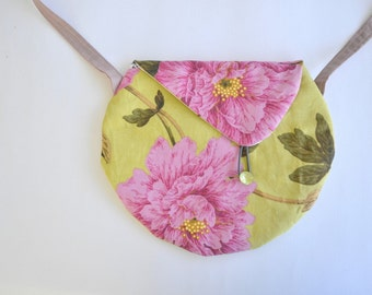 Crossbody bag- small messenger purse- floral shoulder bag- modern bag- cotton crossbody bag