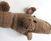 Hand Puppet Brown Bunny Rabbit Hand Puppet Hand Knit Sock Puppet for Adult or Child Knit Rabbit