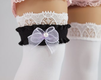 "Black & Lavender Garter - 18"" doll clothes accessories, wedding, Lolita, Steampunk, prom, dress up costume"