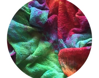 Ice Dyed Cotton Scrim in Bright Rainbow Colours