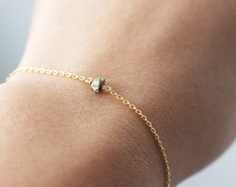 Tiny Pyrite bracelet - Tiny raw crystal bracelet - Gold