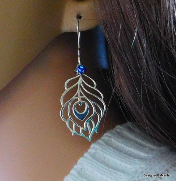 Sterling silver peacock feather earrings, personalized jewelry, bird jewelry, feather earrings, meditation earrings