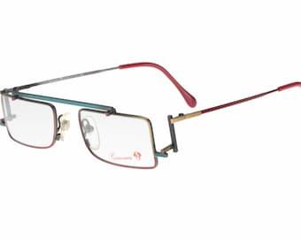 Casanova C-02 RVC3 vintage avant garde flat top multicolour squared - rectangular eyeglasses frames, NOS 1980s
