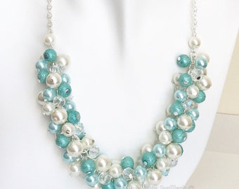 Aqua Pearl Necklace, Bridesmaid Necklace, Chunky, Aqua, Ivory, Blue, Jewelry, Cluster Necklace, Bridesmaid Necklace, Tiffany Blue Color