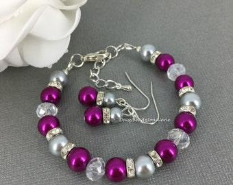 Magenta and Gray Bracelet, Pearl Bracelet, Orchid Bracelet, Magenta Pearl Jewelry, Bridesmaid Bracelet, Magenta Wedding, Pearl Jewelry