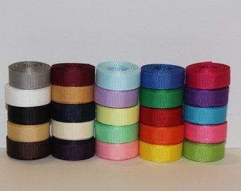 "3/8"" (10mm) Grosgrain Ribbon Lot  (Choose 1 or 2 Yards Each of 25 Different Colors)"