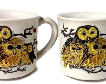 Owl Mugs, Set of 2 Cute Owl Mugs, Vintage Stoneware Coffee Cups, Unique Coffee Mug, Gift for Her