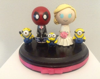 Deadpool Themed Wedding Cake Topper w/ customizable Bride and Groom! Made to Order!