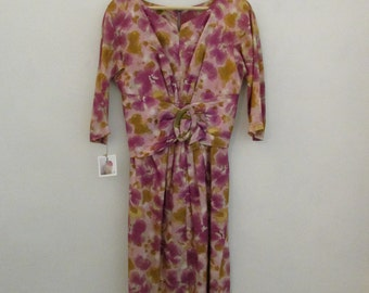 1960s wiggle dress   vintage 1960s springtime wiggle dress with buckle   small   The Marisa Dress
