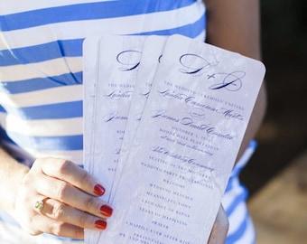 Classic Wedding Program - Long Picture Program - Digital or Printed - Monogram