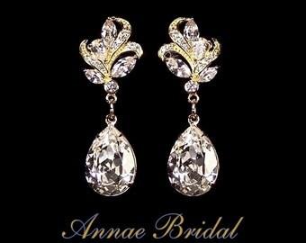 """Crystal teardrop earrings, Bridal, wedding, Swarovski, clear, gold, """"Moonlight Dance"""" earrings"""