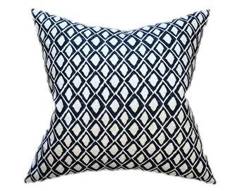 "Navy Ikat Pillow- Navy Blue and White Geoemetric Designer Pillow Cover- Decorative Pillow- Accent Pillow- Throw Pillow-  Holds 22"" Insert"