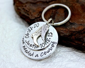 Hand Stamped Memorial Keychain - Dad Memorial - Heaven needed a - Dad Remembrance - Carried to Heaven - Tribute to Dad - Loss of loved one